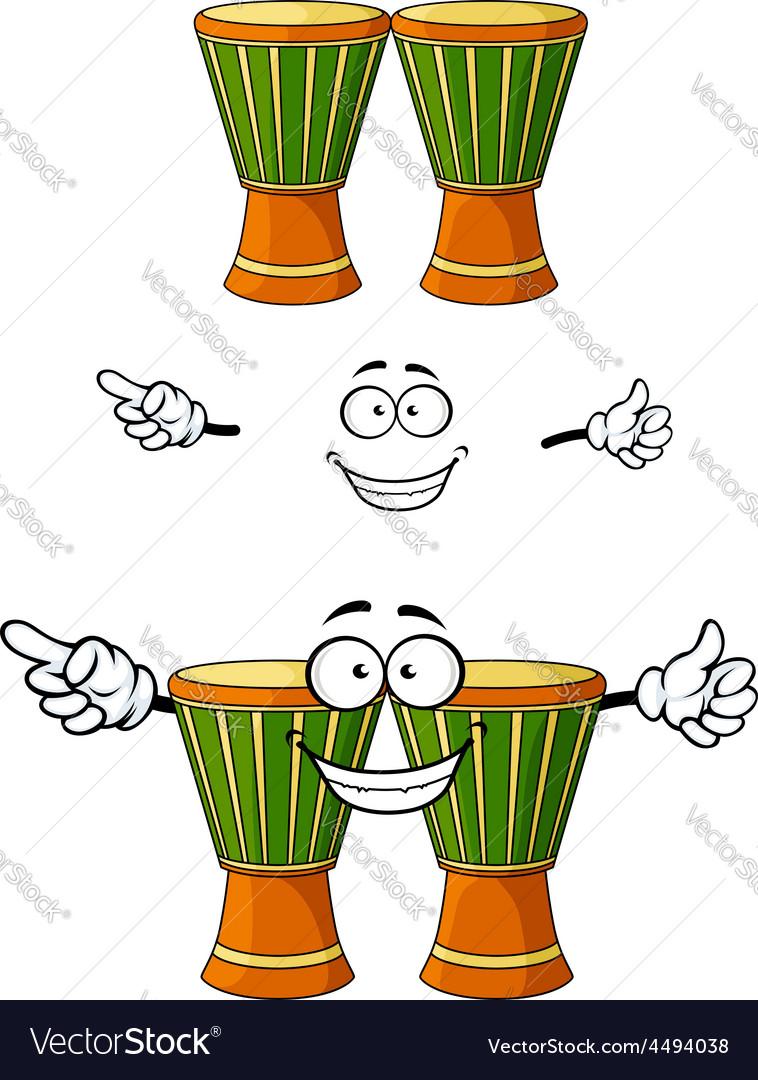 Cartoon african wooden djembe drum character vector image