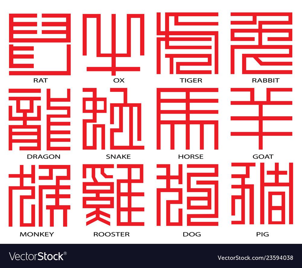 Horoscope Calendar.Chinese Horoscope Calendar Hieroglyphs