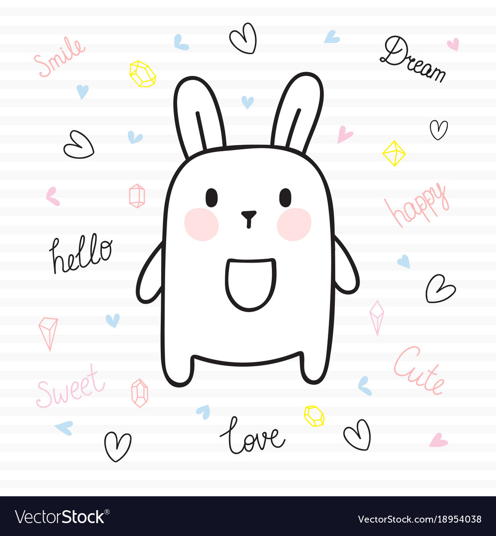 Cute hand drawn postcard with funny bunny card