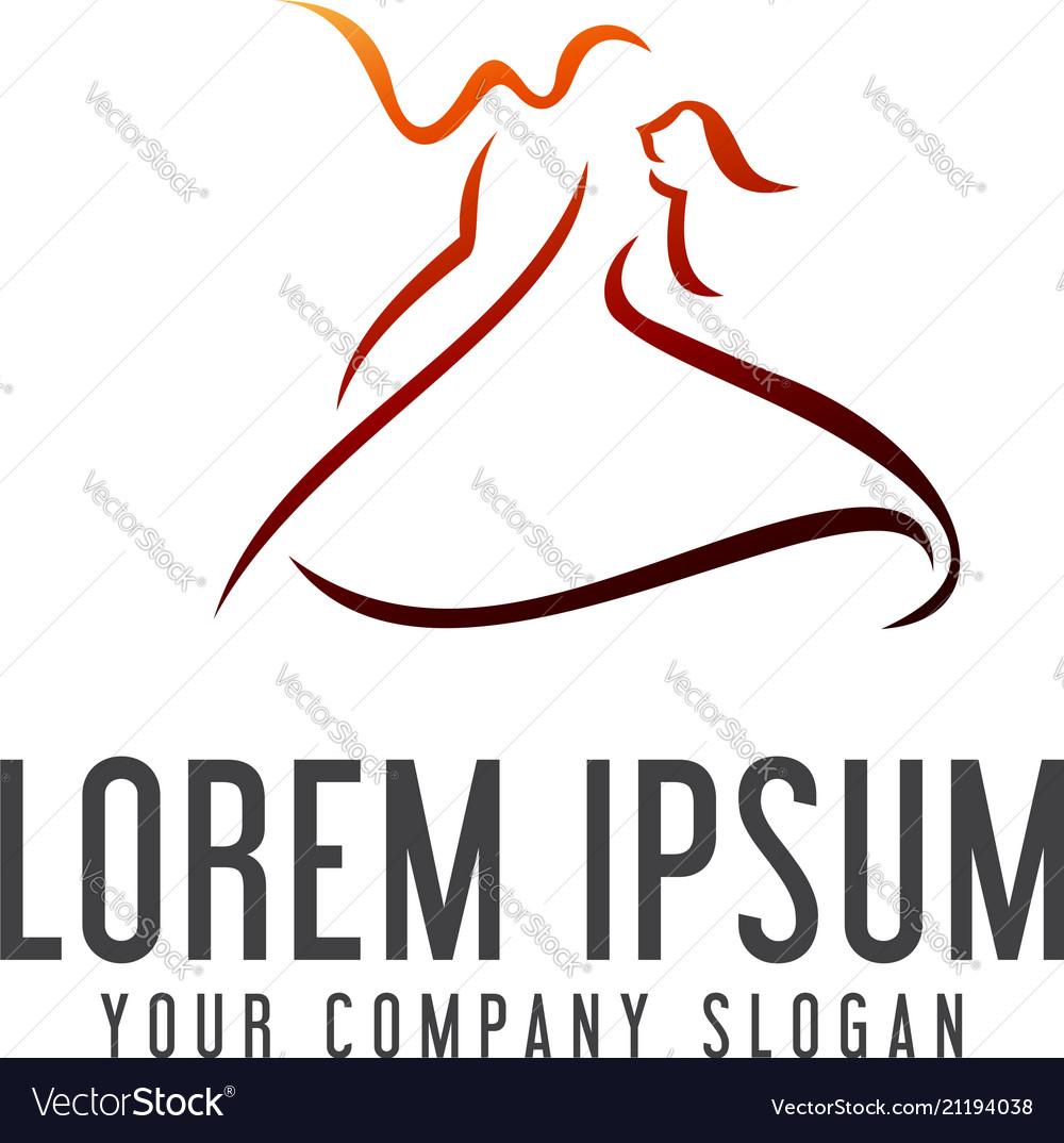 Dancing people logo design concept template