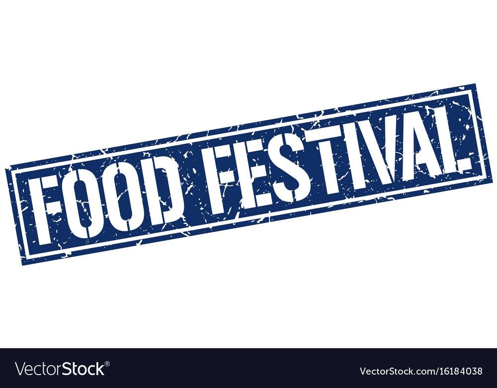 Food festival square grunge stamp vector image