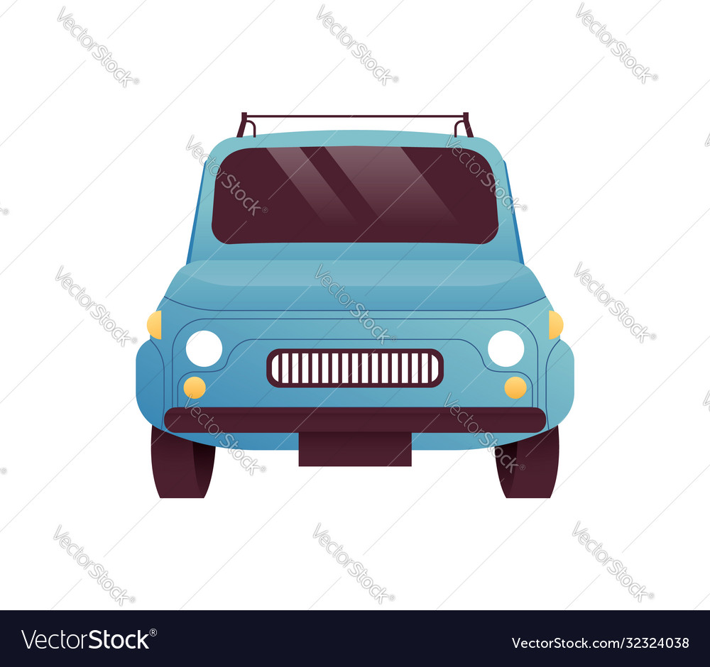 Front view old retro car cartoon isolated