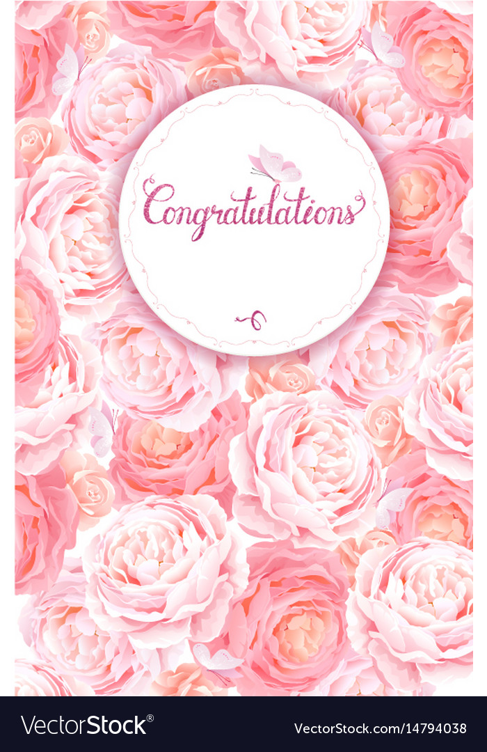 Greeting card with pink roses background