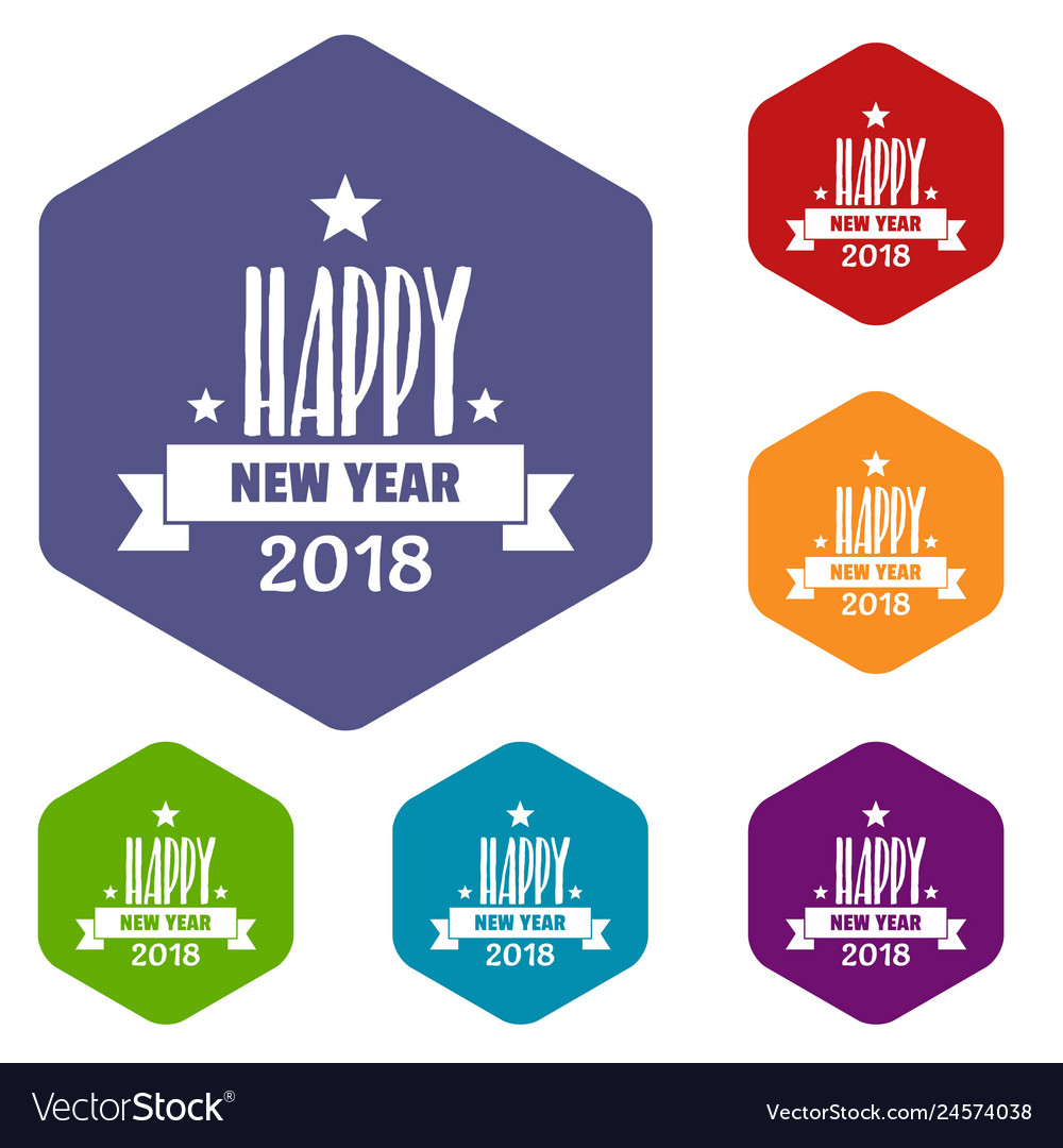 Happy new year lettering icons hexahedron