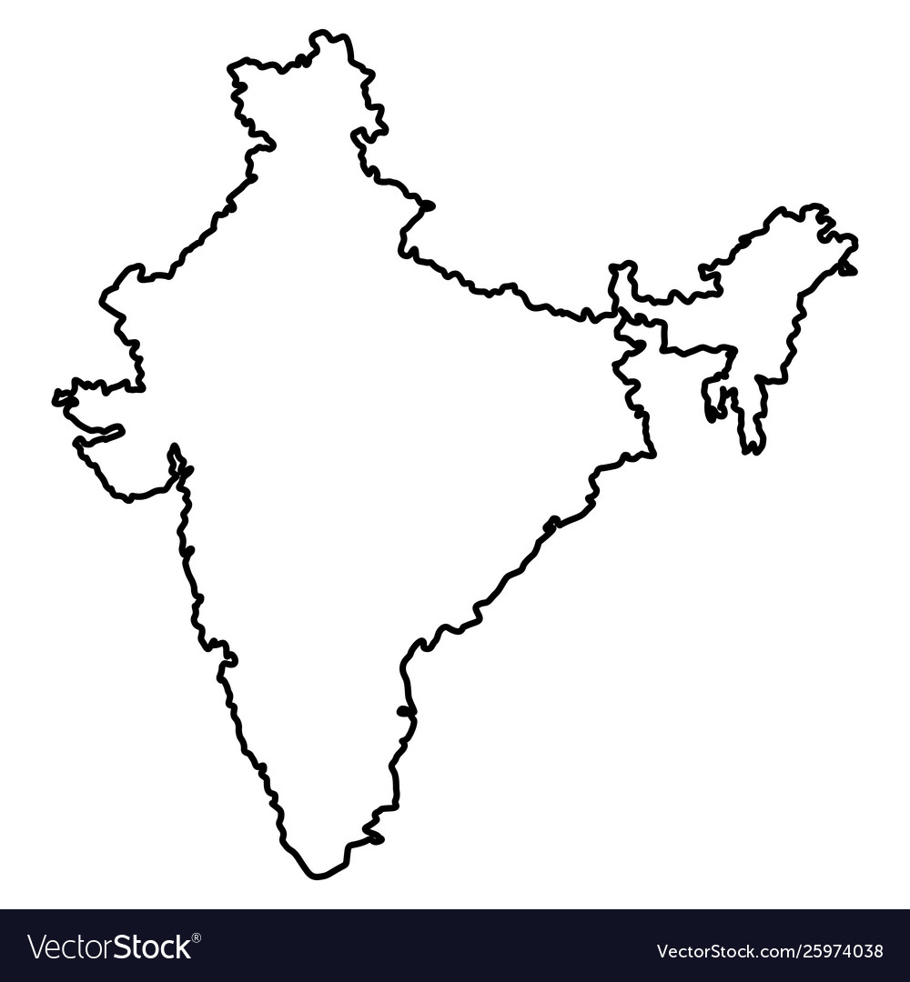 map india icon cartoon in black and white vector image vectorstock
