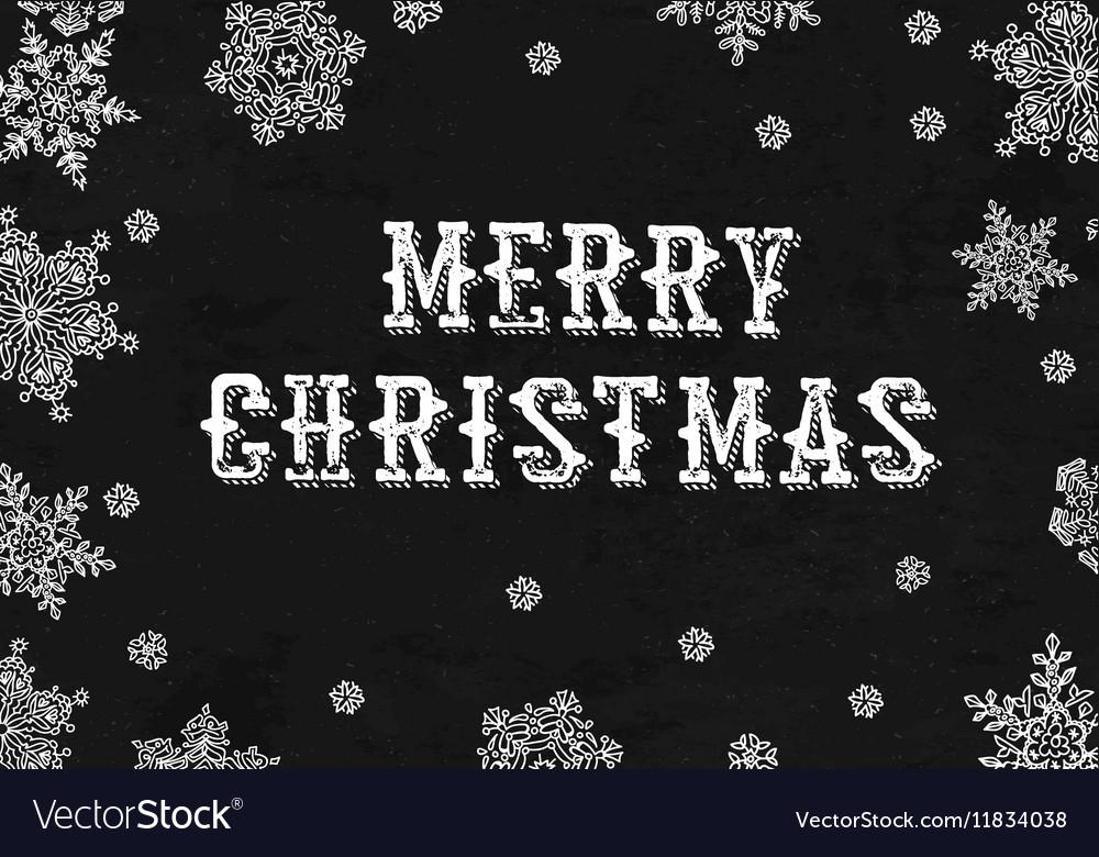 Merry Christmas Greeting On blackboard texture vector image