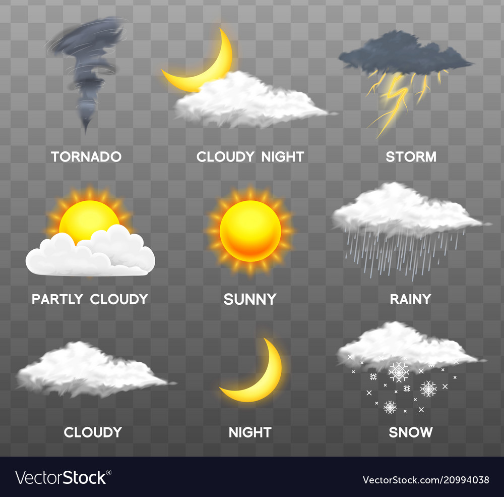 Modern realistic weather icons set meteorology