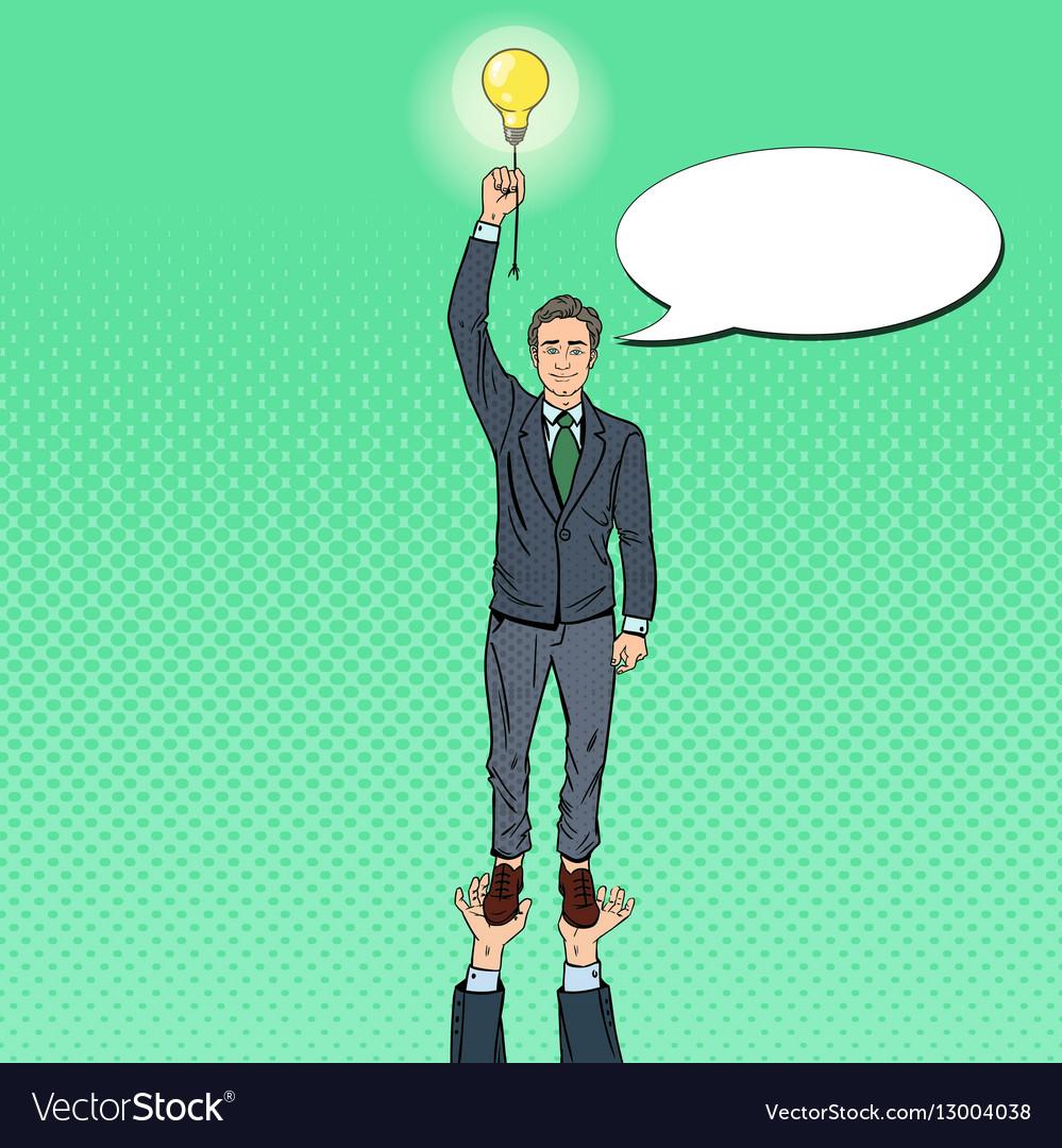 Pop Art Businessman with Lightbulb Team Work