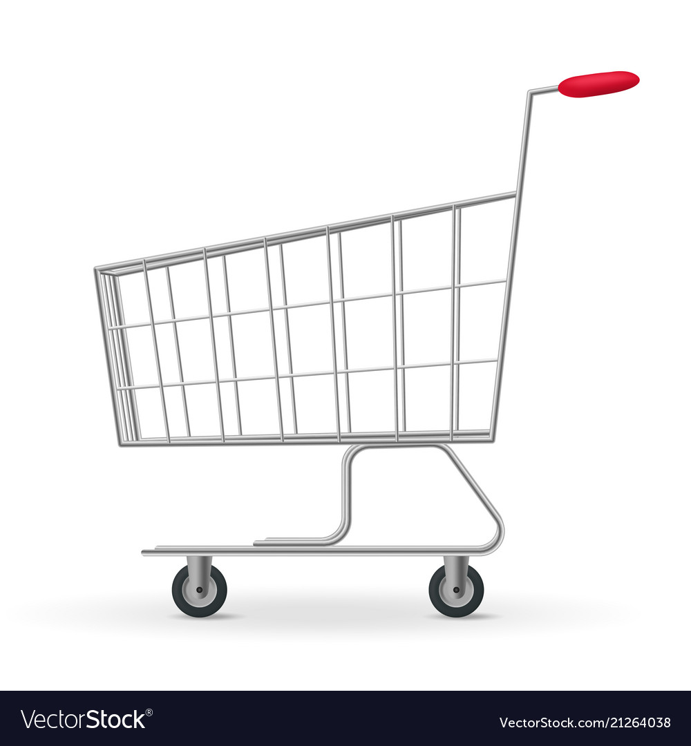 Realistic detailed 3d metallic supermarket cart
