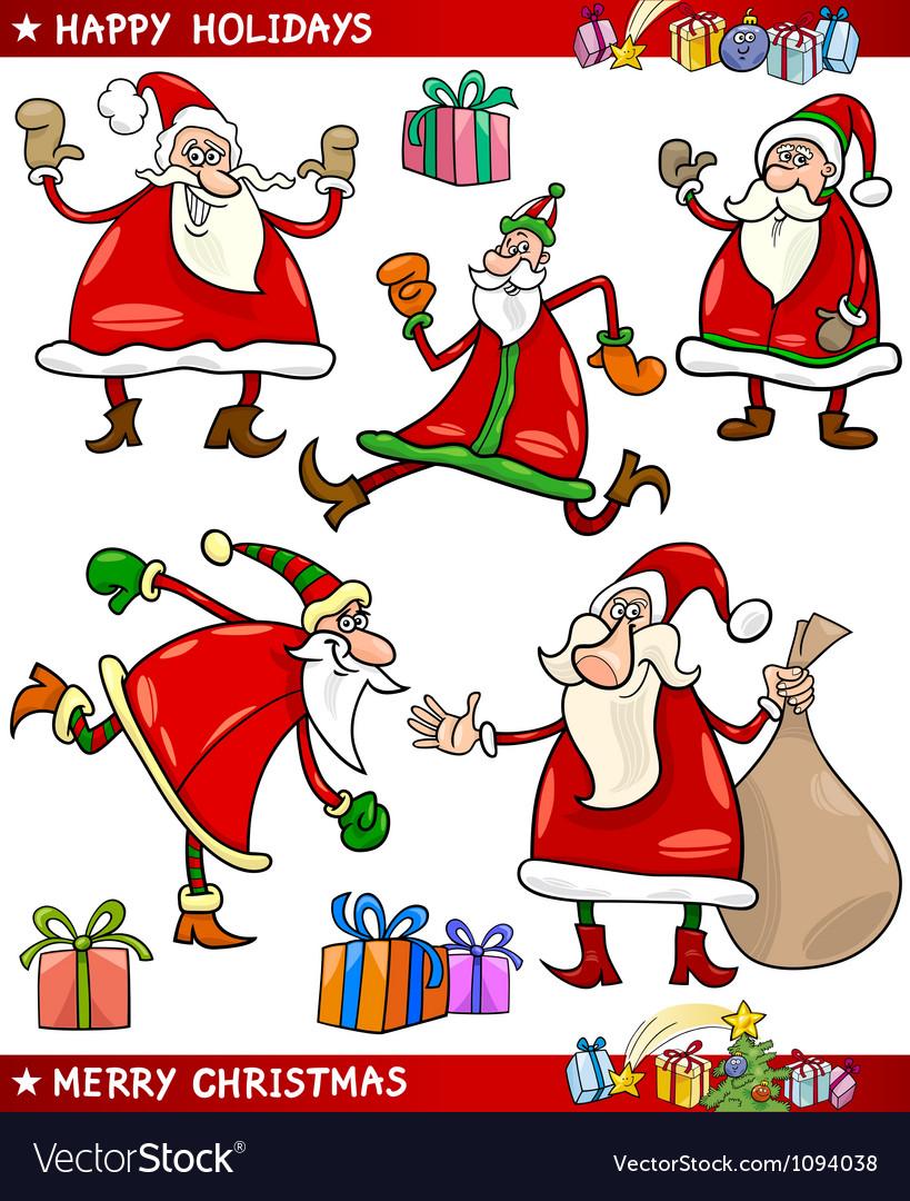 santa and christmas themes cartoon set vector image - Christmas Themes Free