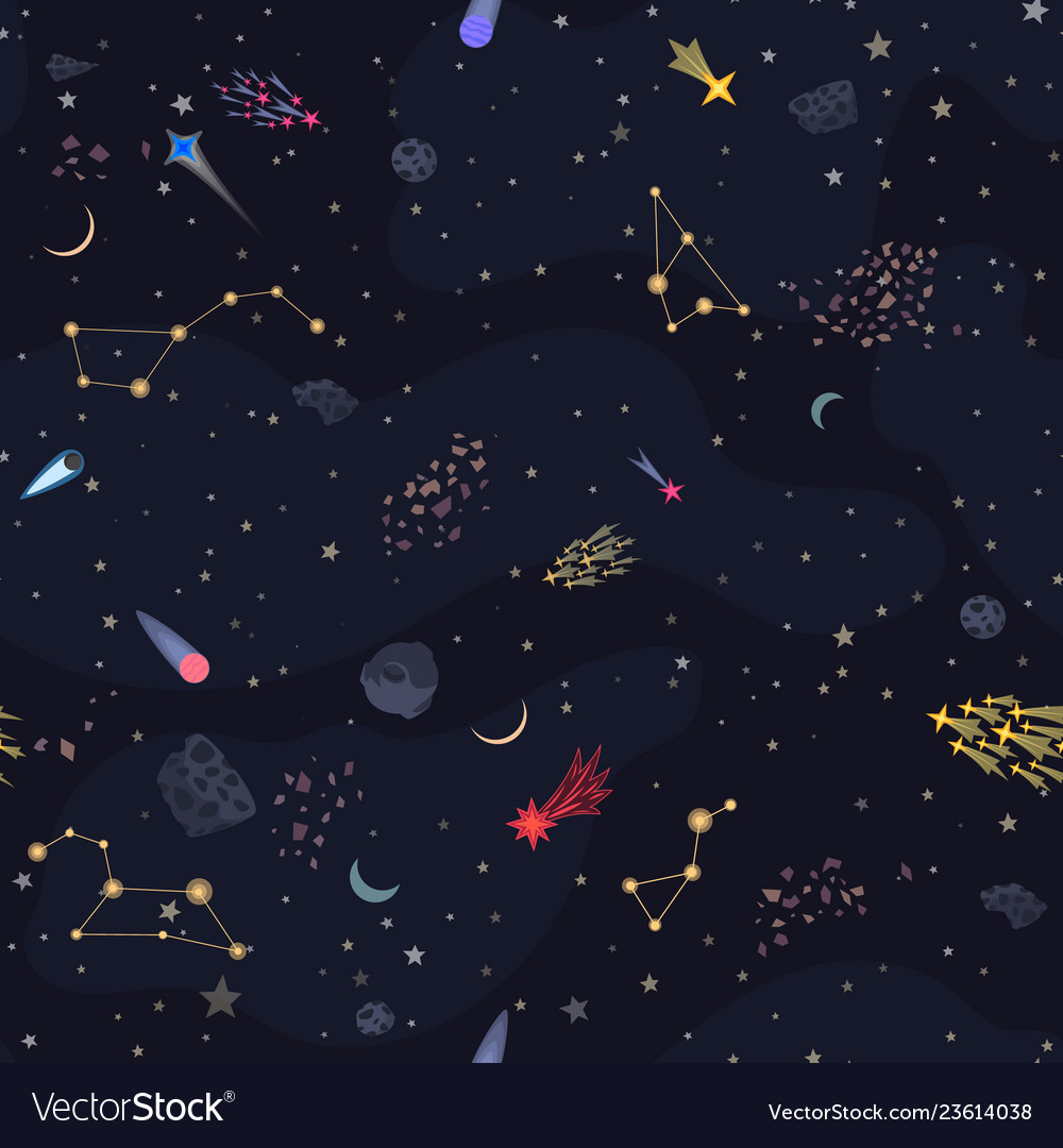 Seamless night sky backround with bright stars