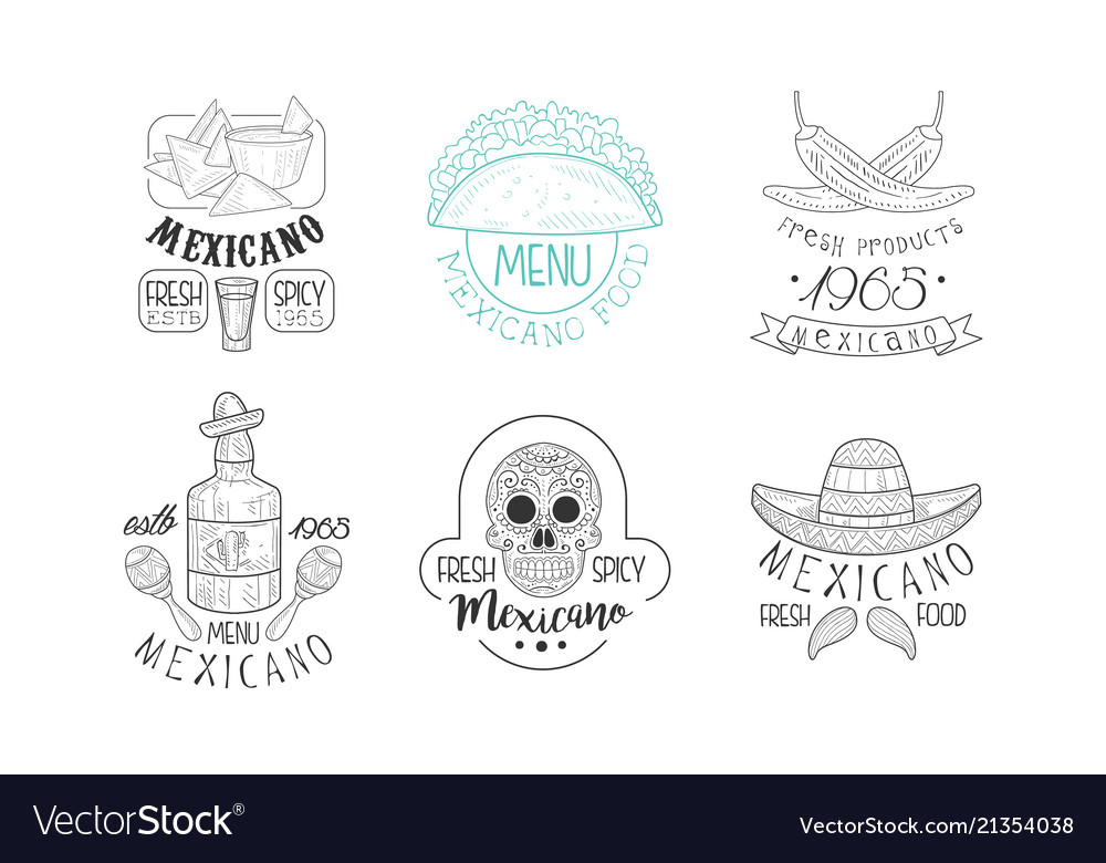Set of sketch emblems for mexican