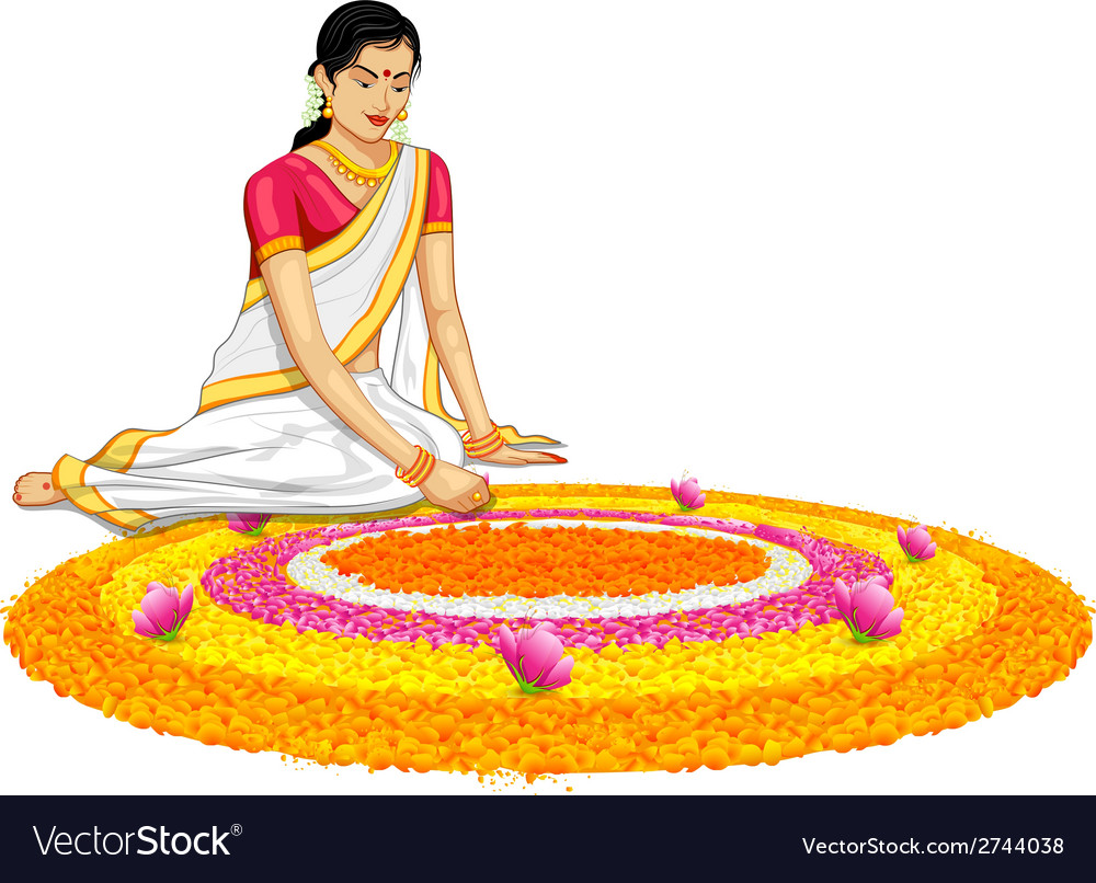 Woman making rangoli for onam