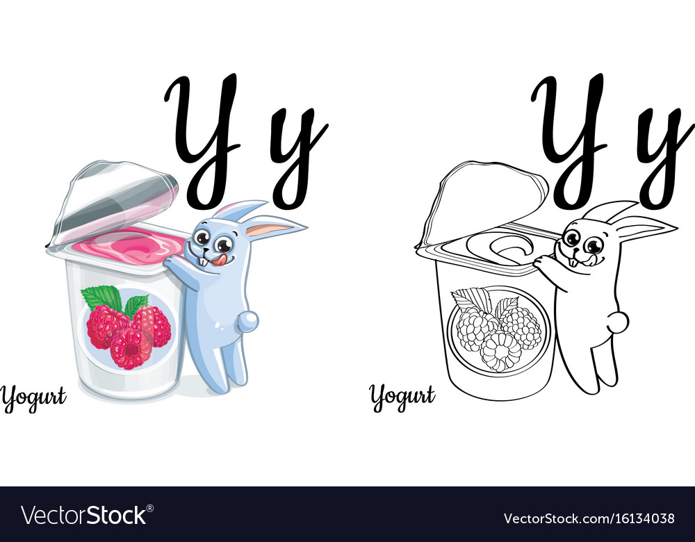Yogurt alphabet letter y coloring page vector image