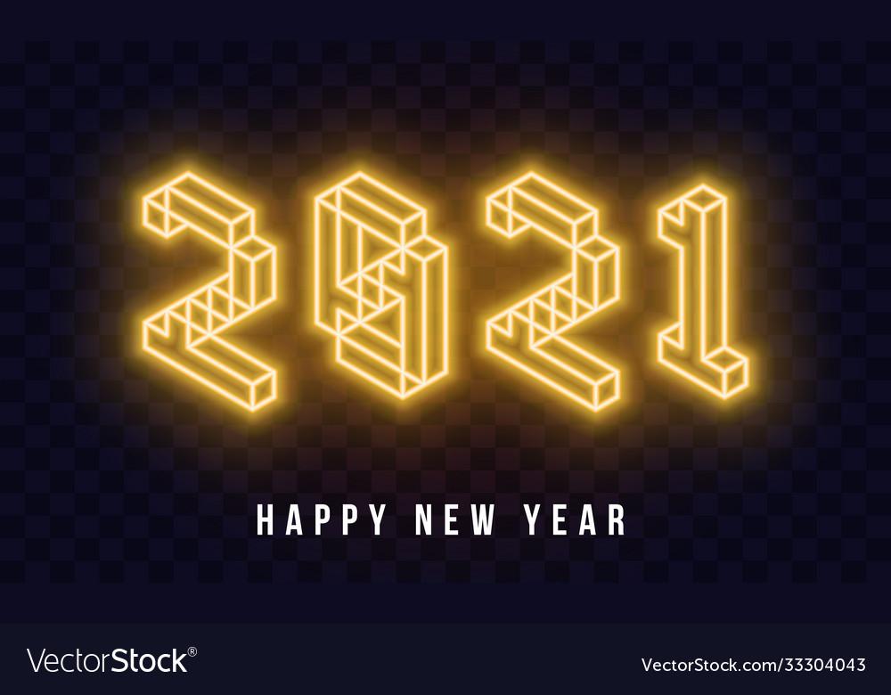 2021 happy new year isometric neon text new