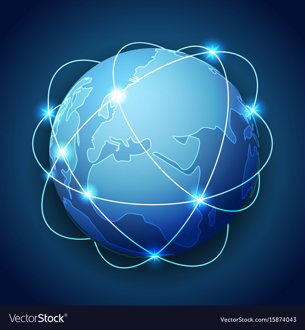 Abstract earth with planetary ring design network vector image