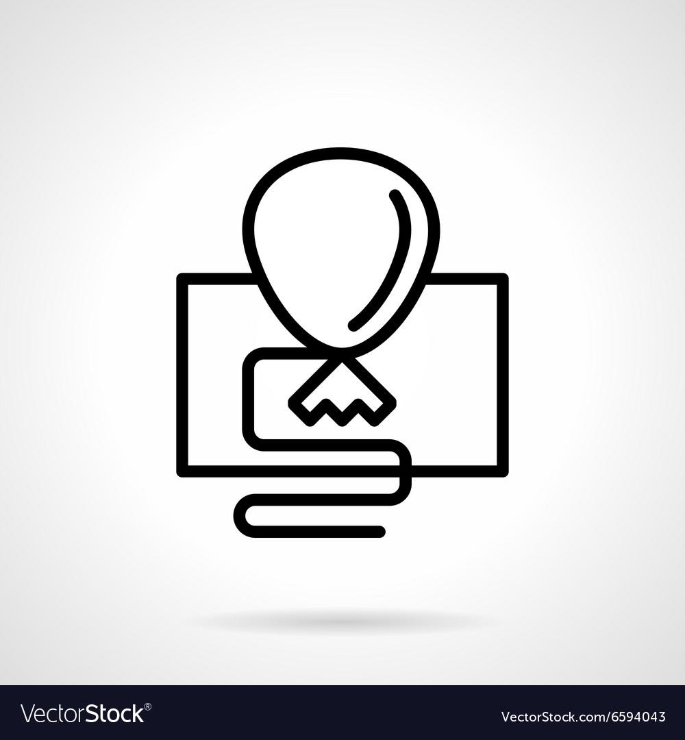 Black simple line balloon icon vector image