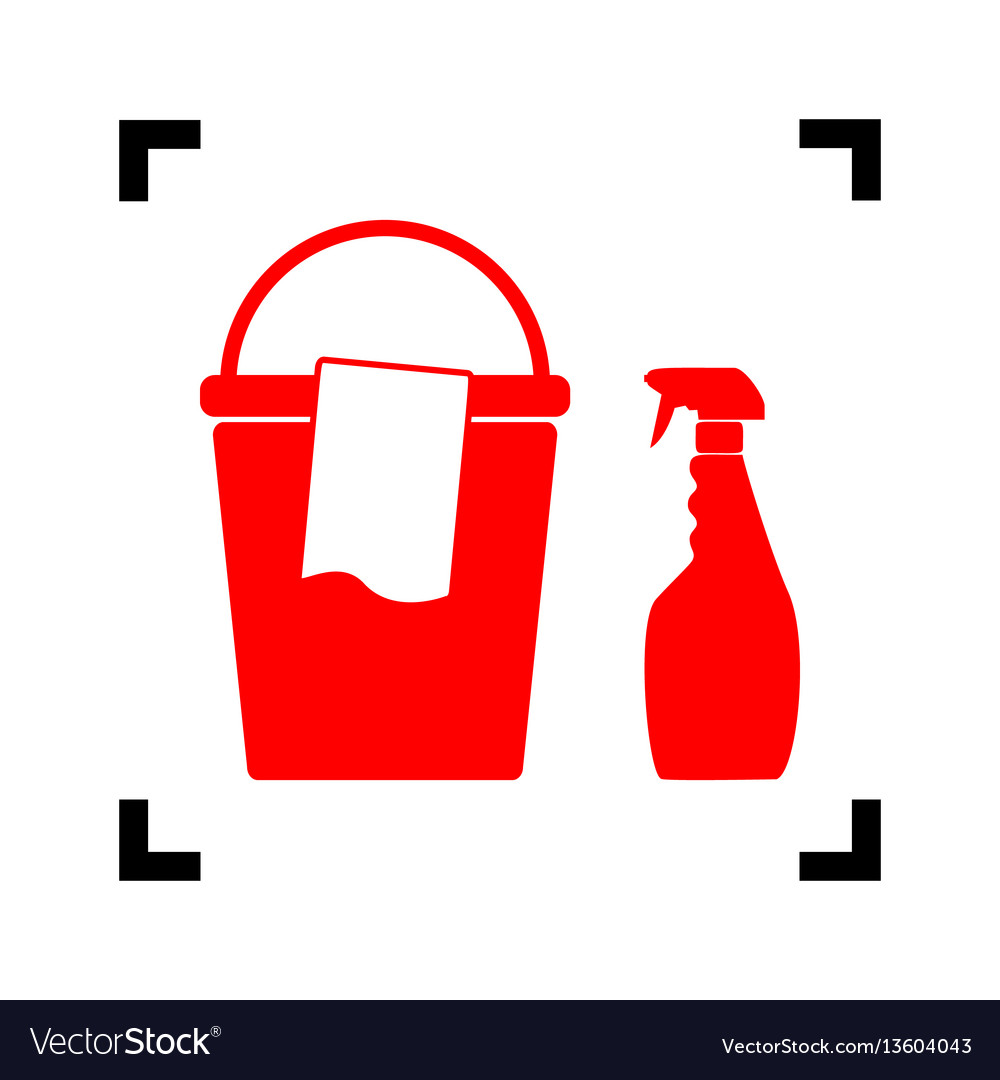 Bucket and a rag with household chemical bottles
