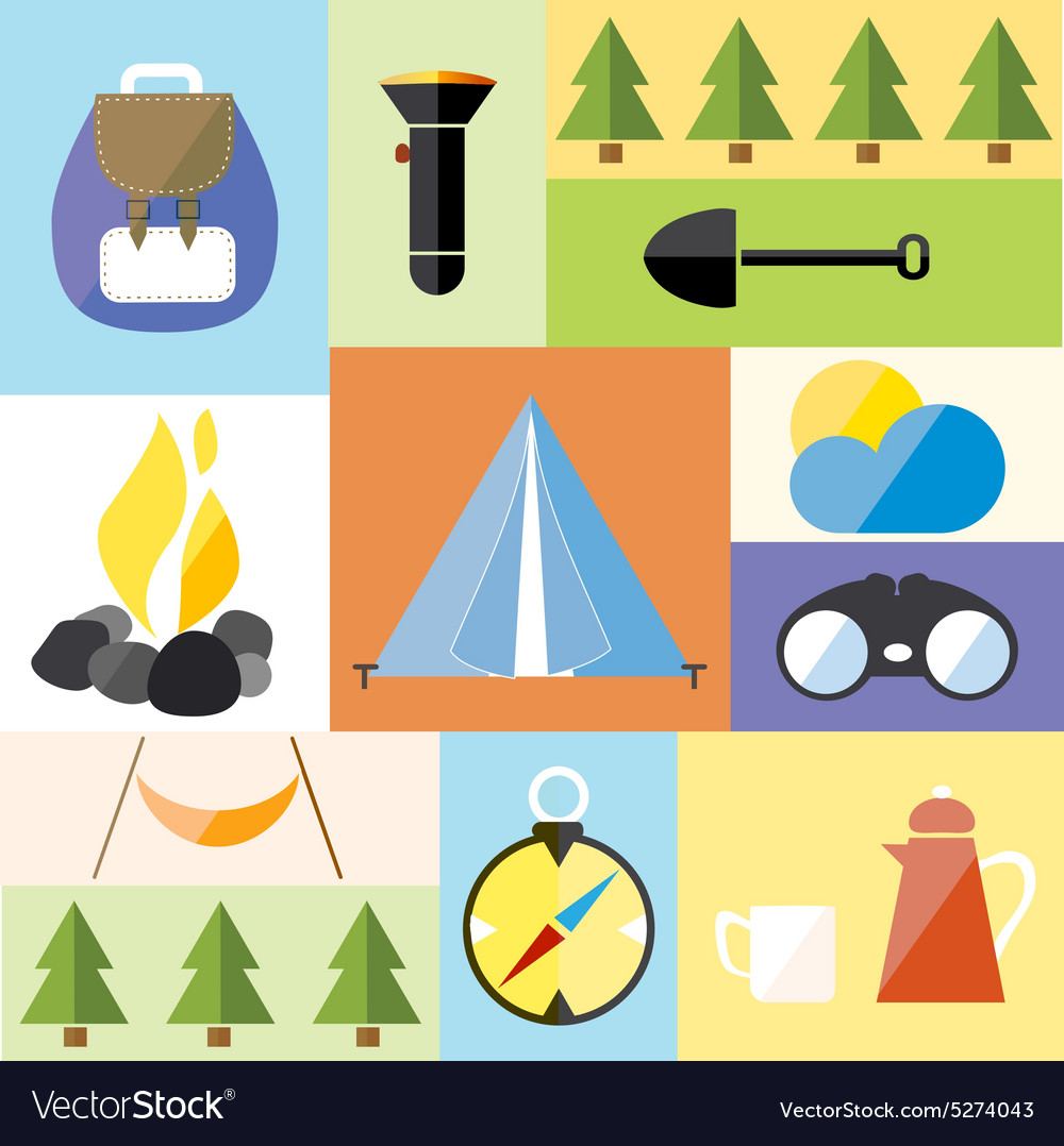 Camp Tent Set Icon Adventure Hike Forest Travel vector image
