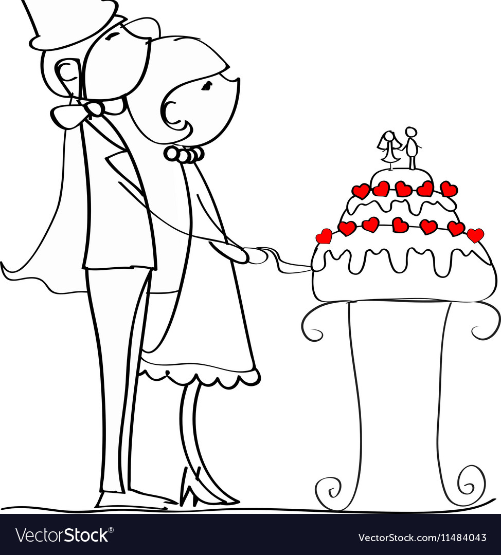 Cute Couple Cutting Wedding Cake Drawing