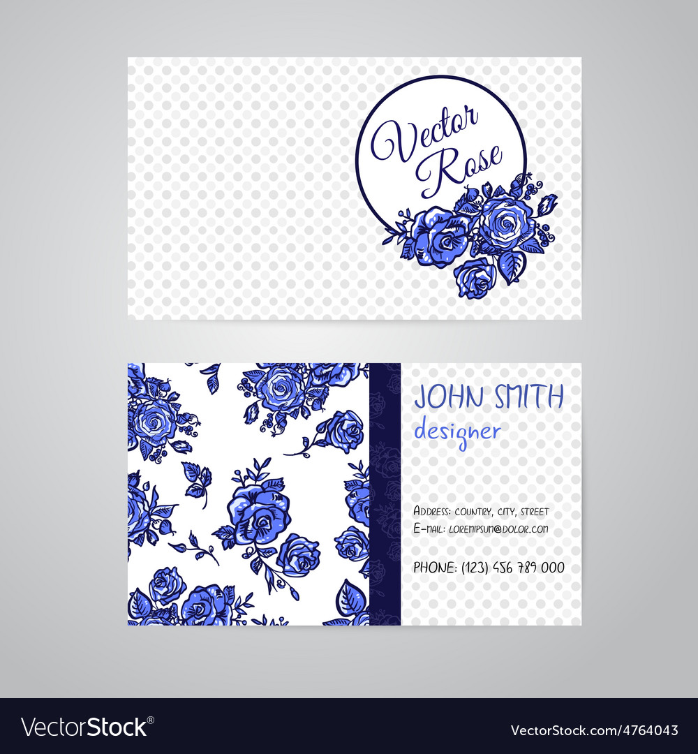 Flowers Business Cards Set Royalty Free Vector Image