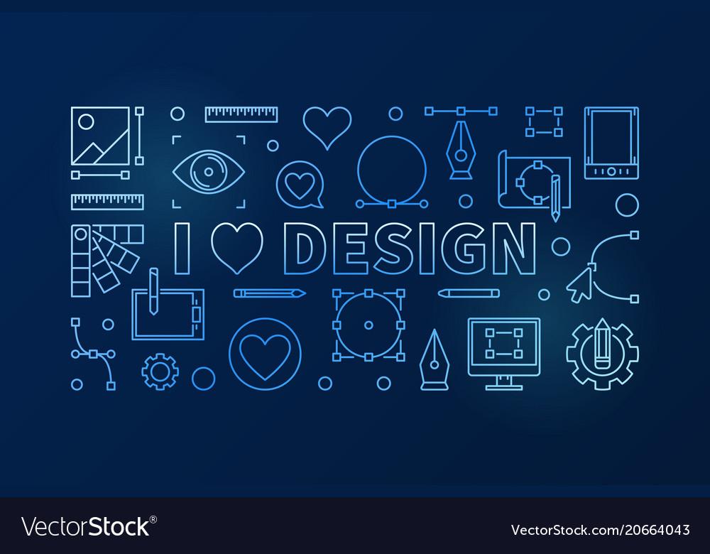 I love design blue horizontal thin line