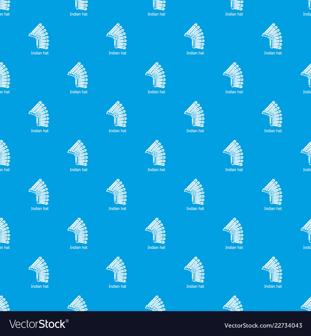 Indian Hat Pattern Seamless Blue Royalty Free Vector Image