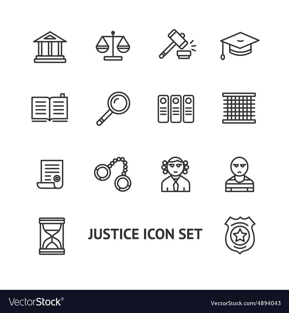 Justice law outline icon set