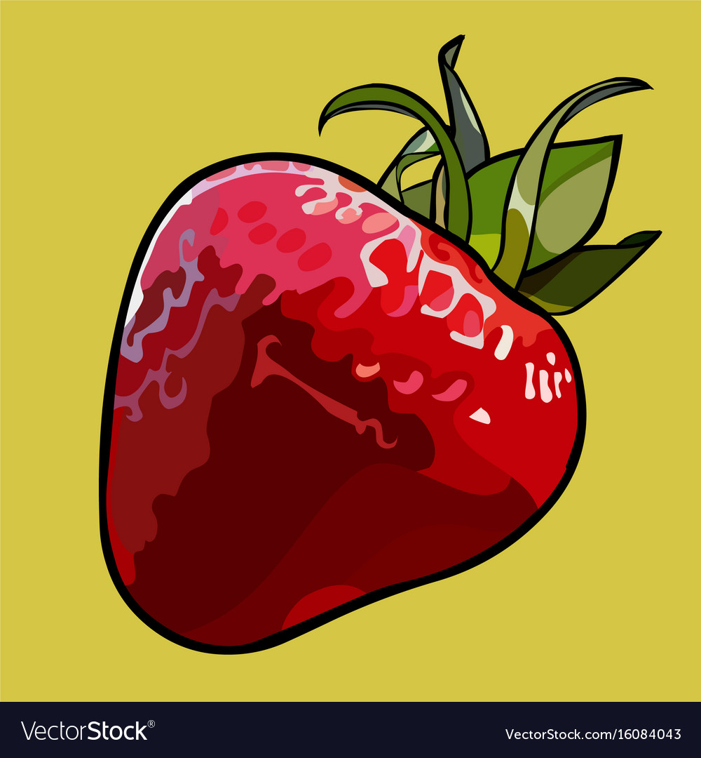 Painted Cartoon Red Strawberry With Green Leaves Vector Image