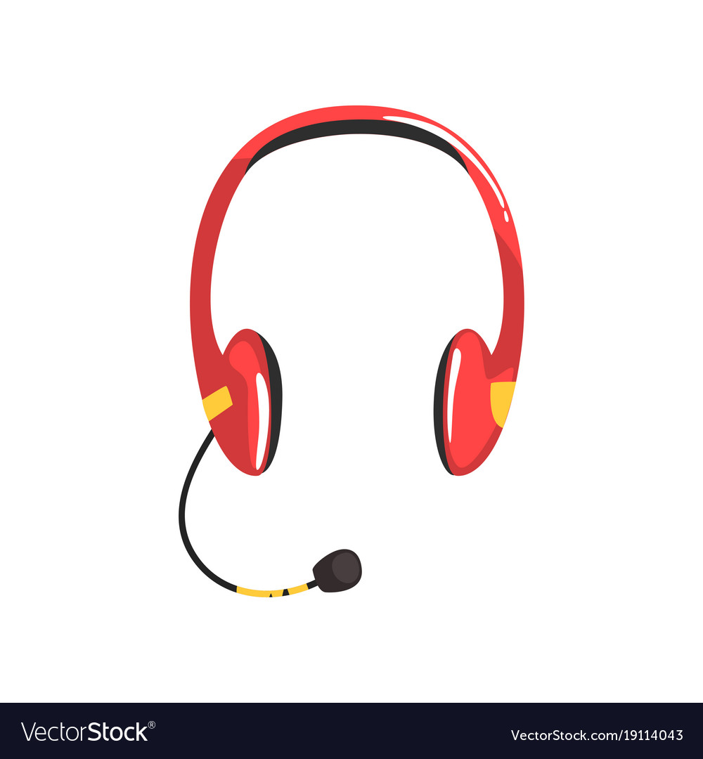 Red Wireless Headset Headphones With Microphone Vector Image