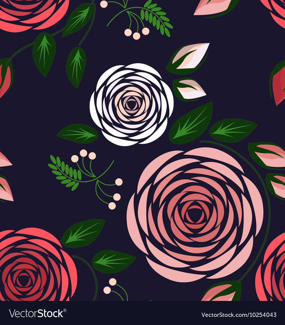 Seamless floral pattern with big delicate roses