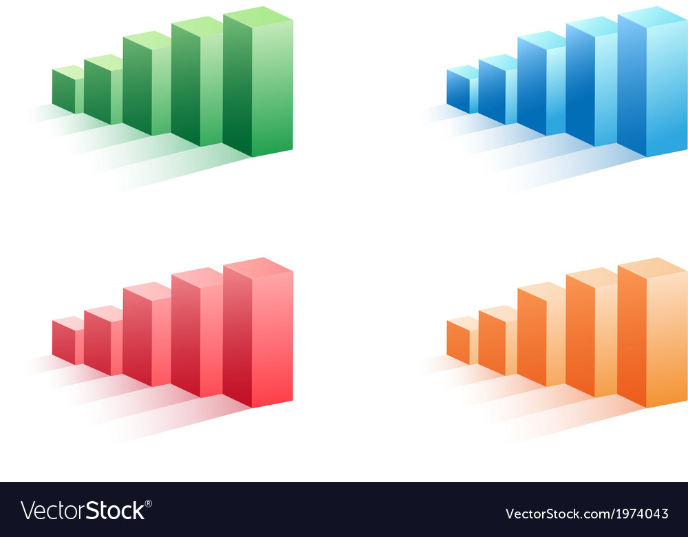 Set of color business bar graph