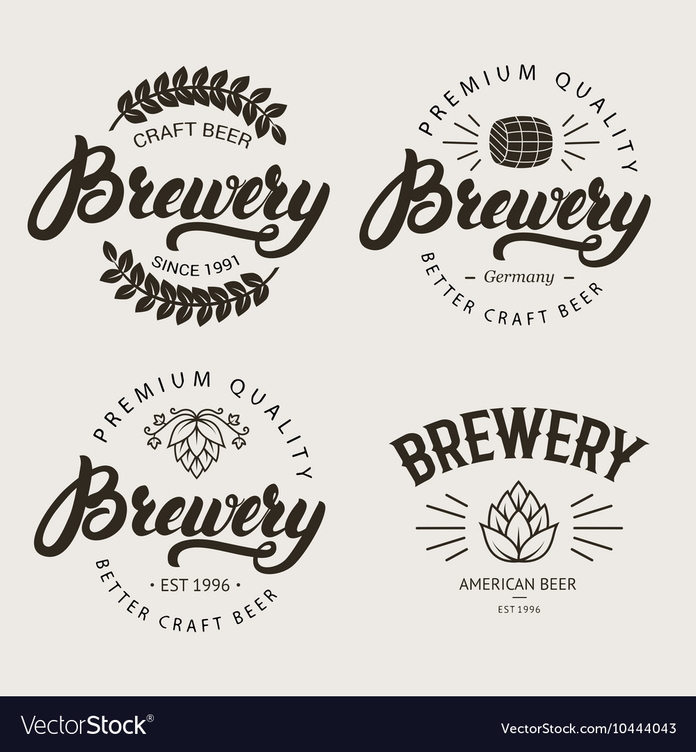 Set vintage brewery badge label logo template
