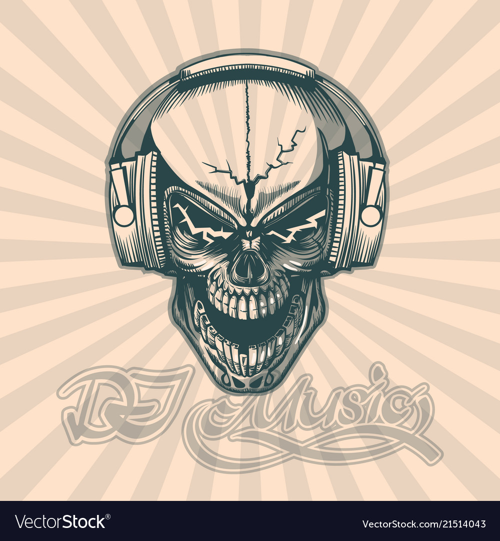 Skull in headphones hand drawing image