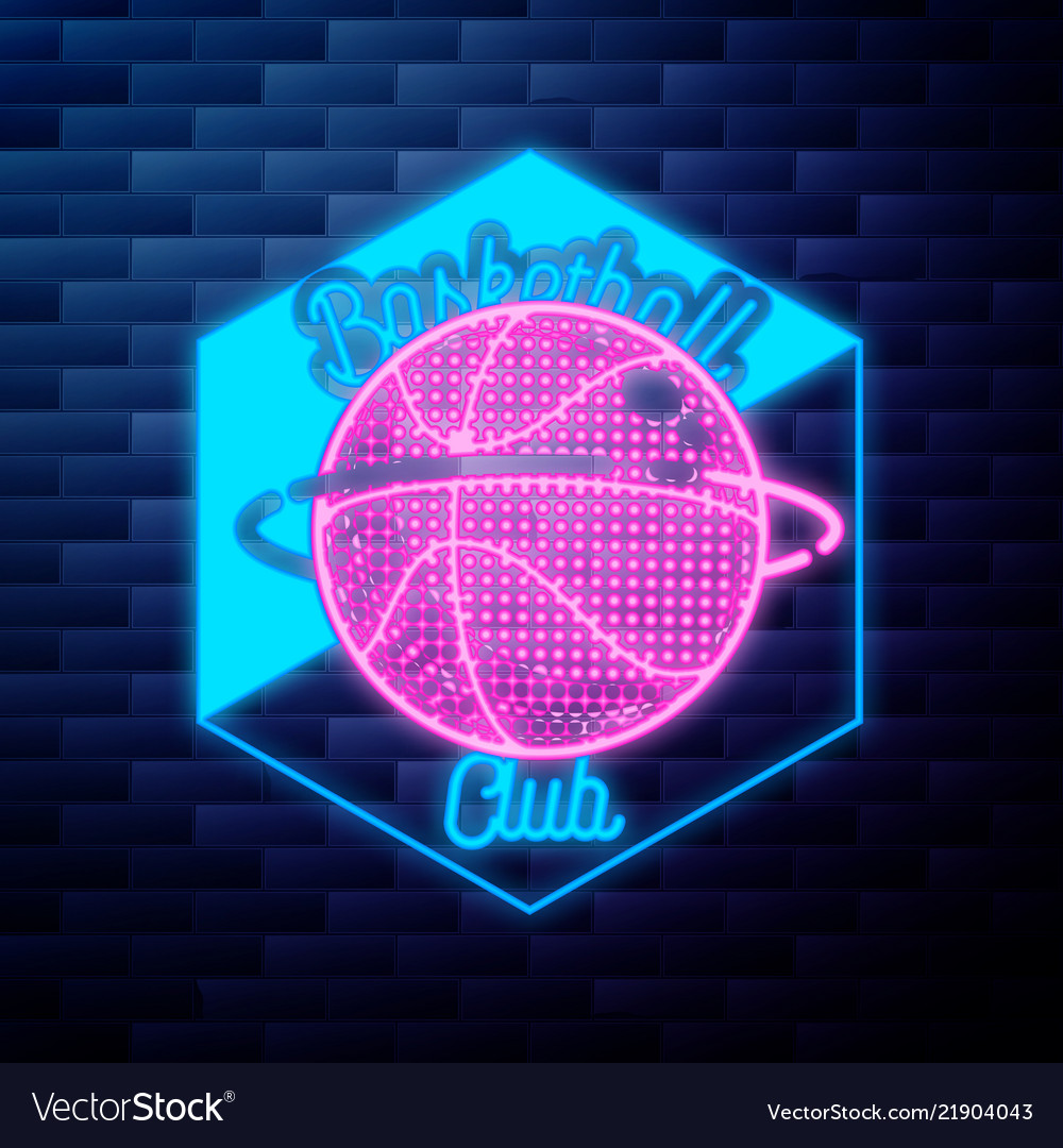 Vintage basketball emblem glowing neon sign on