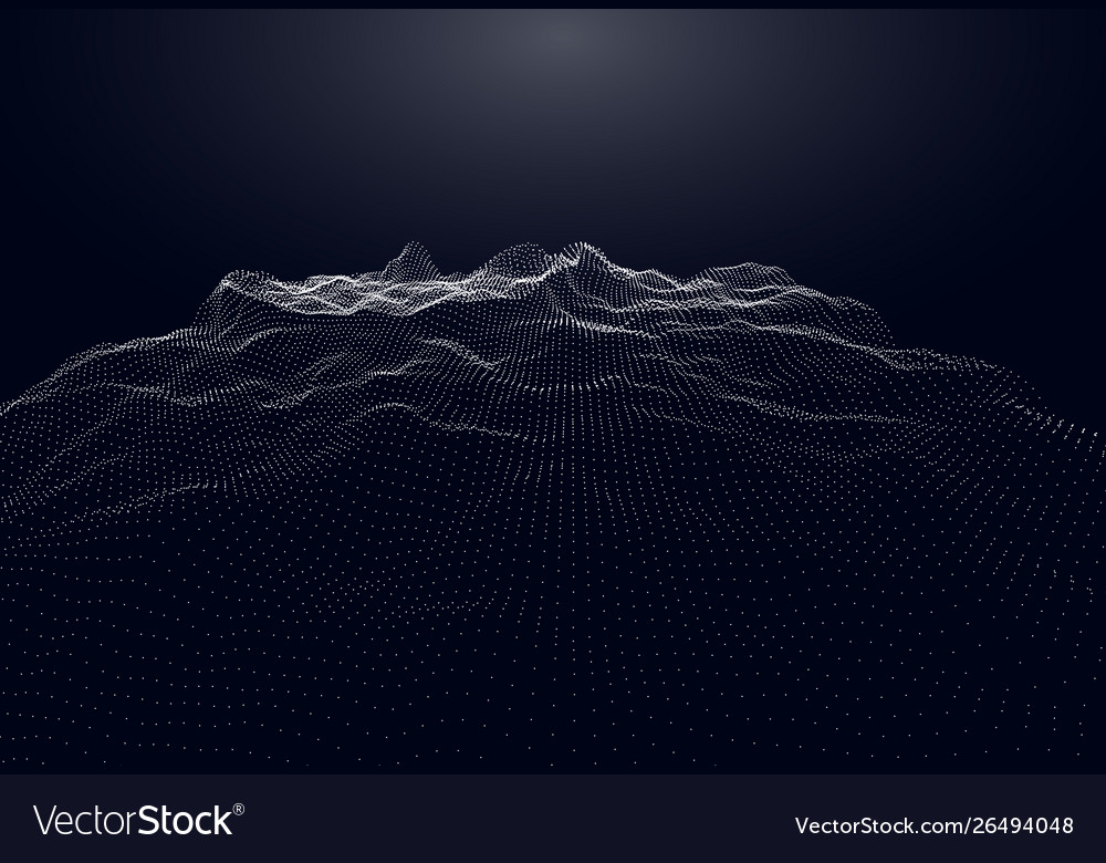 Abstract digital landscape with flowing particles