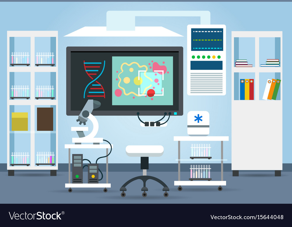 Biological research lab interior vector image