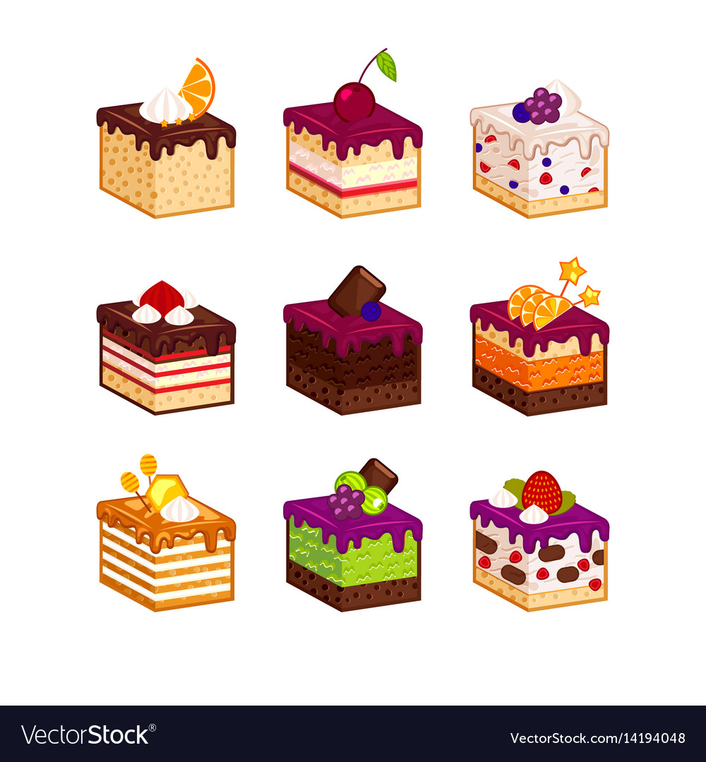 Cake slices with flavour decor