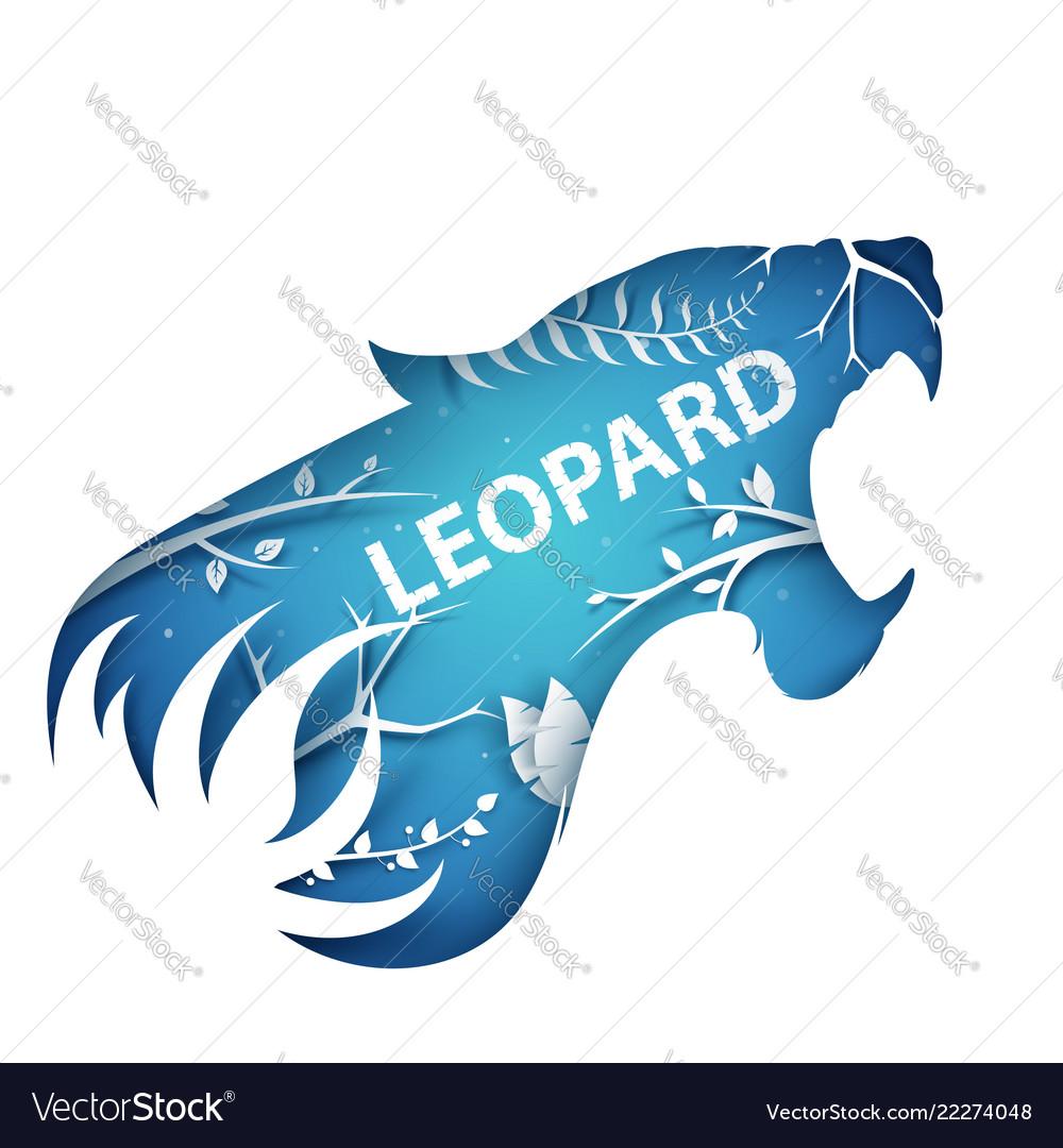 Cartoon paper branch leopard