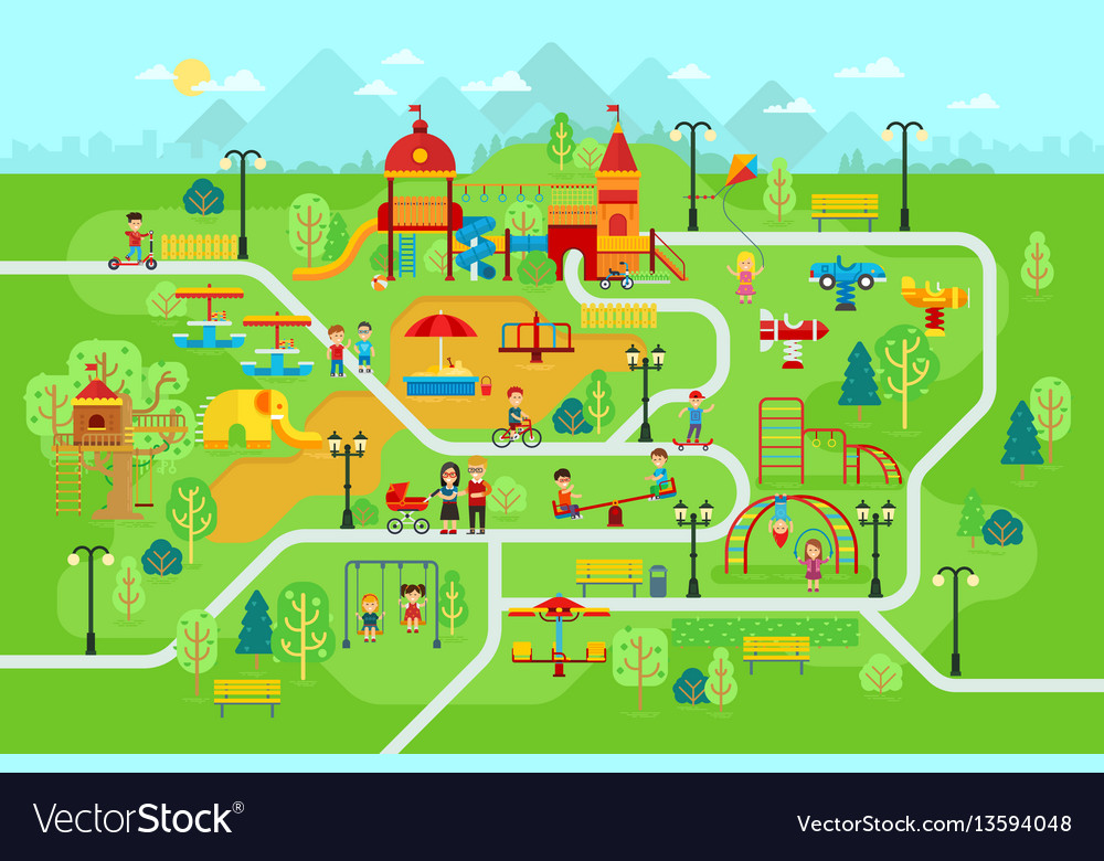 Children playground in park with people and