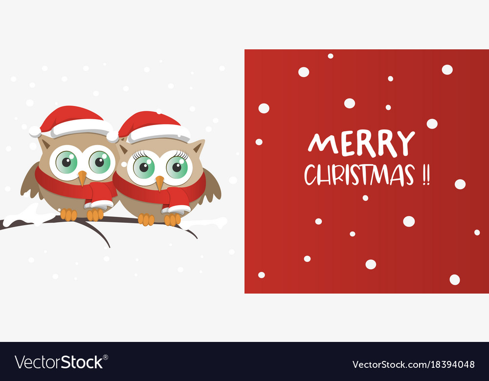 Couple of owls with santa claus hat on a branch vector image