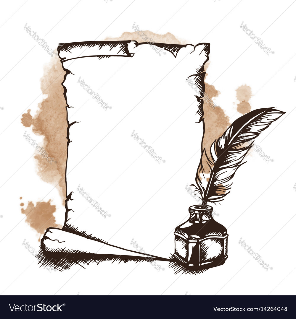 Hand-drawn paper scroll feather and inkwell vector image