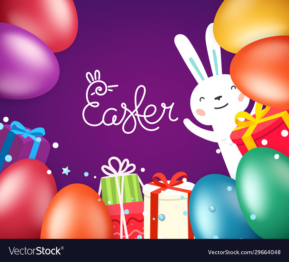 Happy easter greeting card template with eggs and