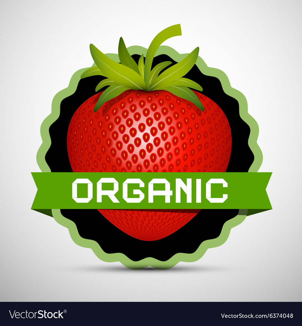 Organic Label with Strawberry