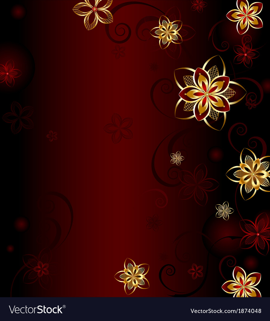Red background with gold flowers vector image