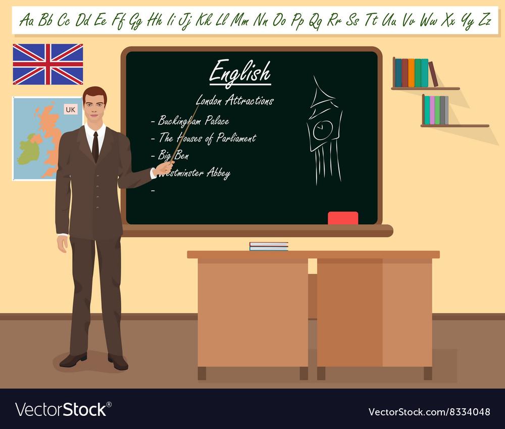 School English male teacher in audience class