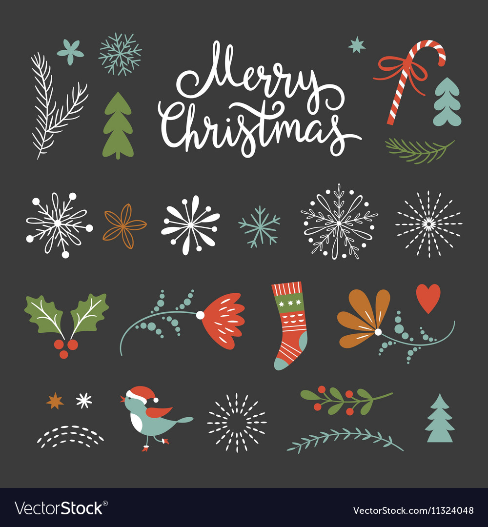 Set of Christmas graphic elements on a black backg