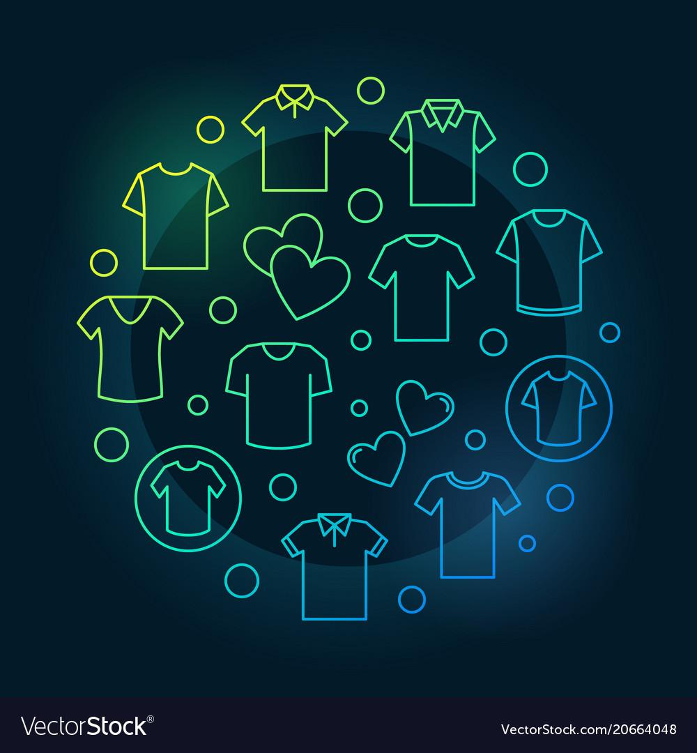 Tshirt colorful circular outline symbol vector image