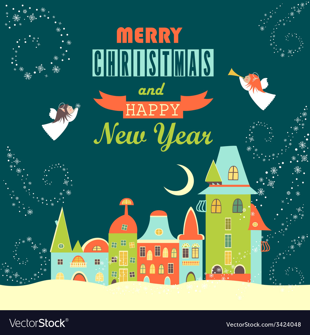 Two angels above cityscape Christmas greeting card vector image