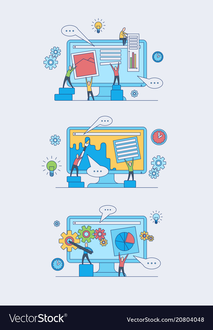 Web development concept set with people silhouette